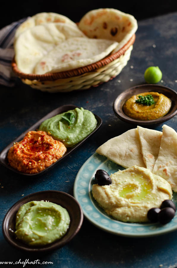 HUMMUS (5 VARIATIONS) AND PITA BREAD MADE WITHOUT OVEN
